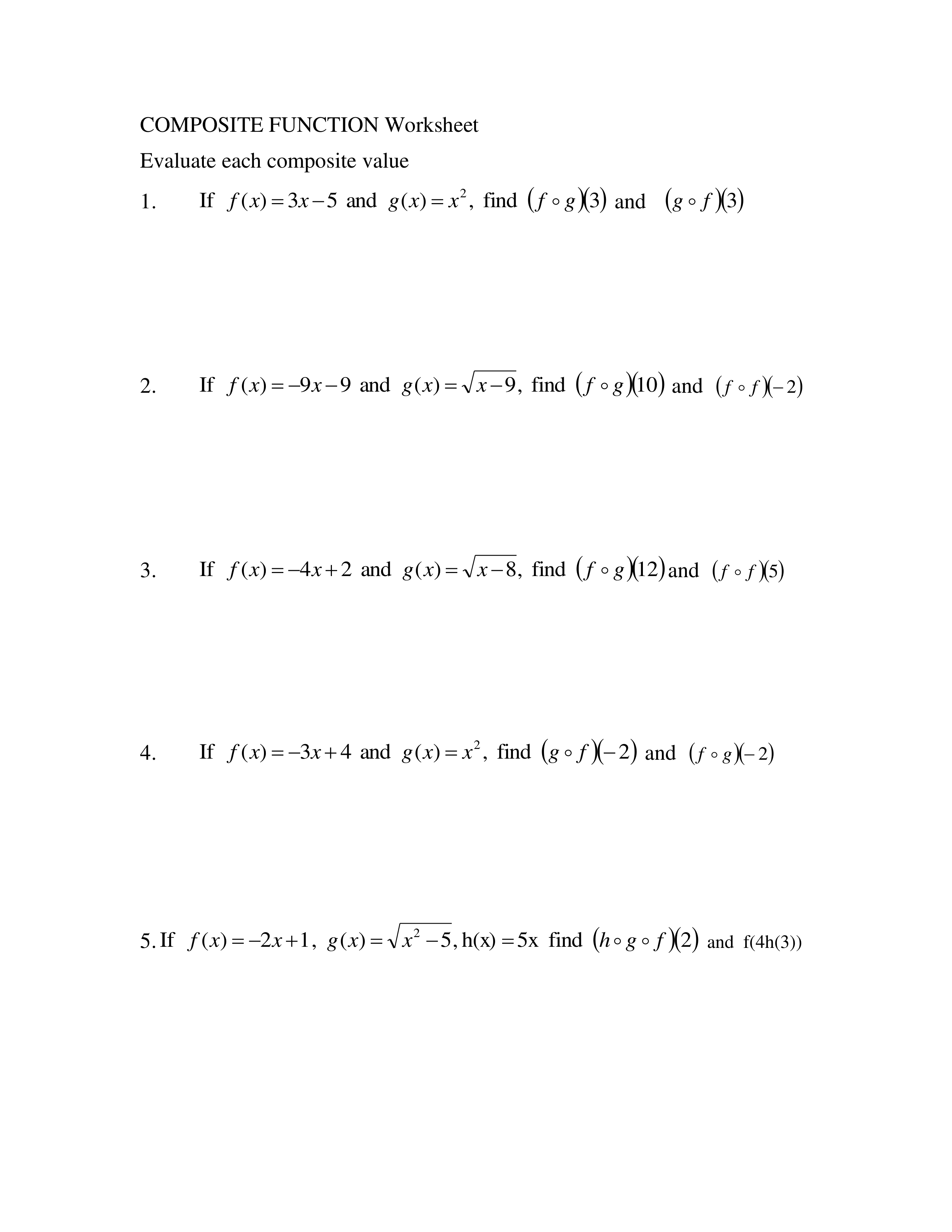 Composite Function Worksheet - Marleen Gracom Library Formative Throughout Composite Function Worksheet Answers