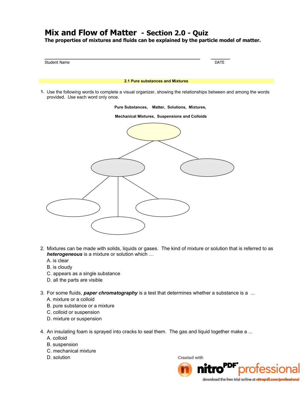 Sci. 8- Mix & Flow of Matter: Section 2 Quiz - Don Moon ...
