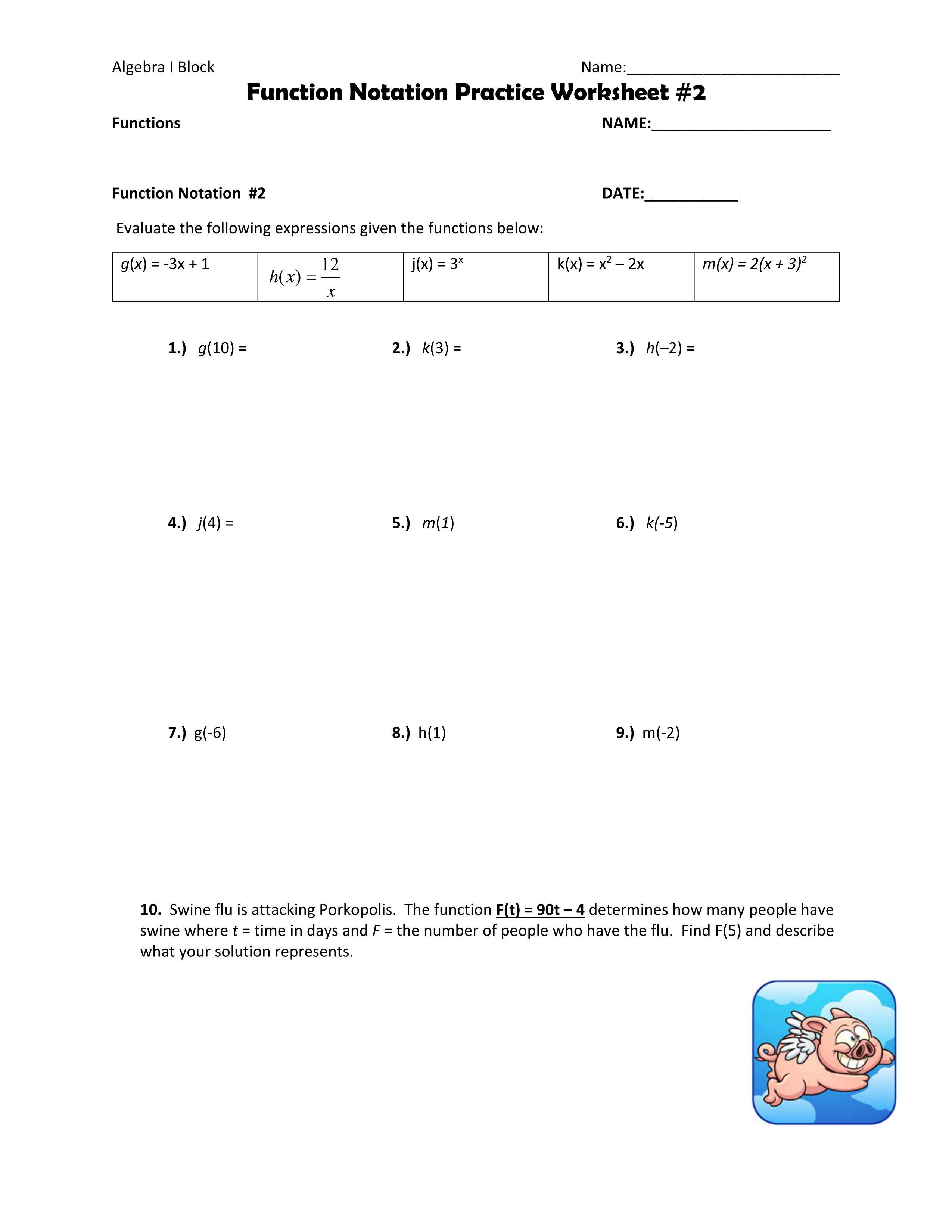 Function Notation Practice Worksheet 2   Math Teachers ...